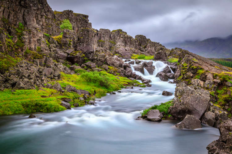Waterfall in Thingvellir National Park Iceland