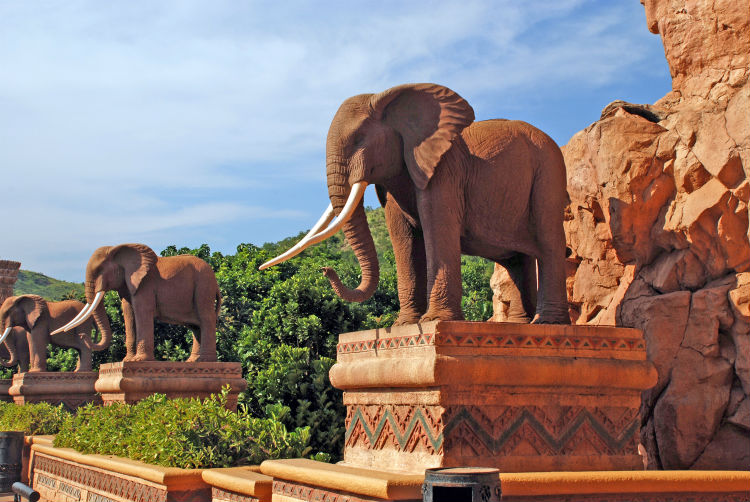 statue of elephants in Lost City South Africa.jpg