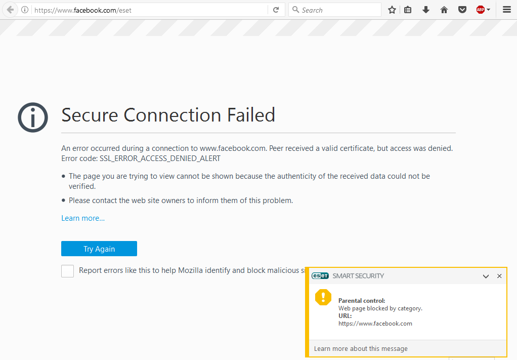 Blocked Webpage Message Remote Management Eset Security Forum