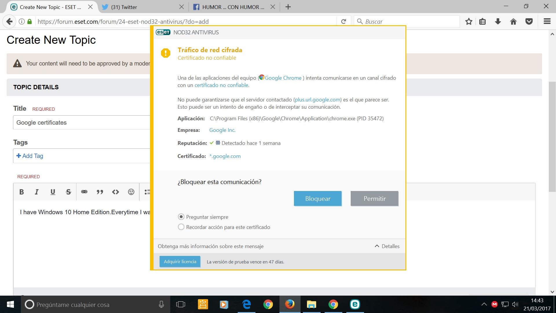 Google Certificates Eset Nod32 Antivirus Eset Security Forum