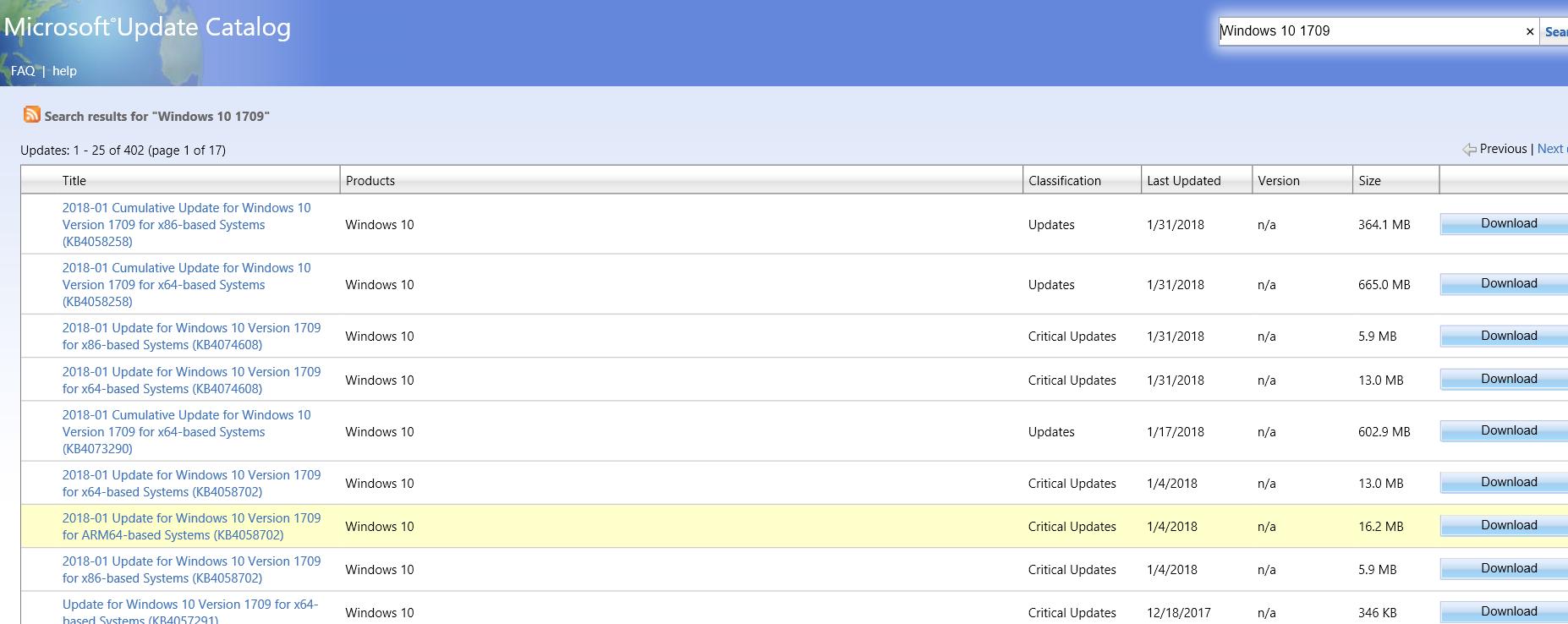 microsoft update catalog windows 10 version 1703