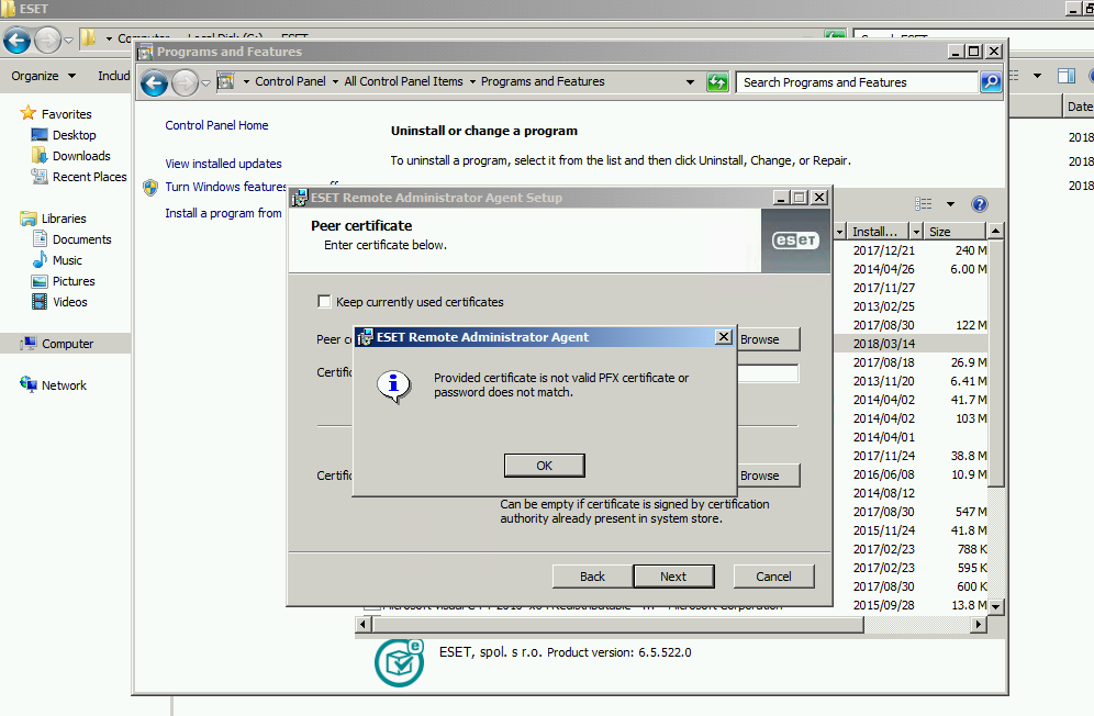 Era Agent Not Accepting Certificates Invalid Pfx Certificate