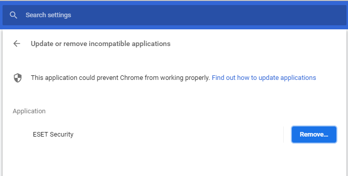 Image result for These applications could prevent Chrome from working properly ESET