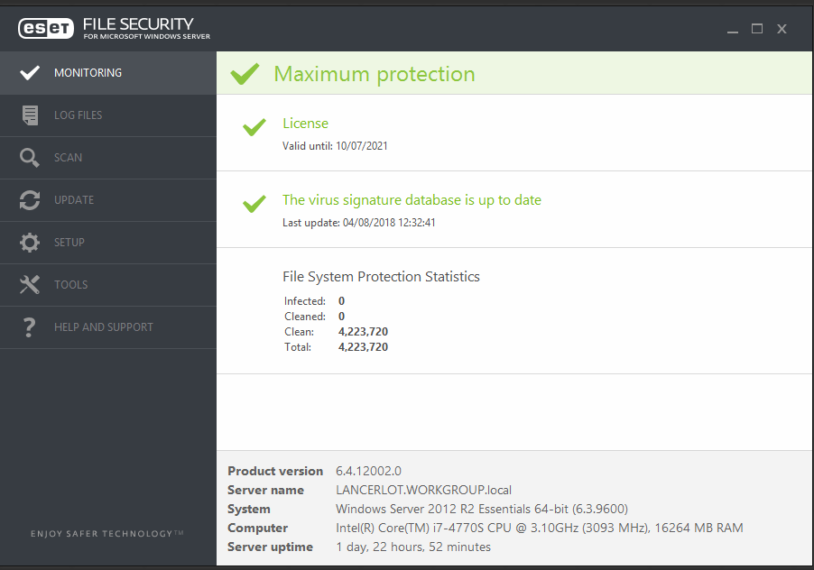 Eset File Security update wont work - ESET Products for