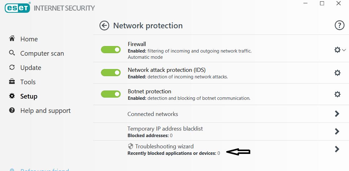 Firewall logs (only ever one public port blocked) - ESET Internet
