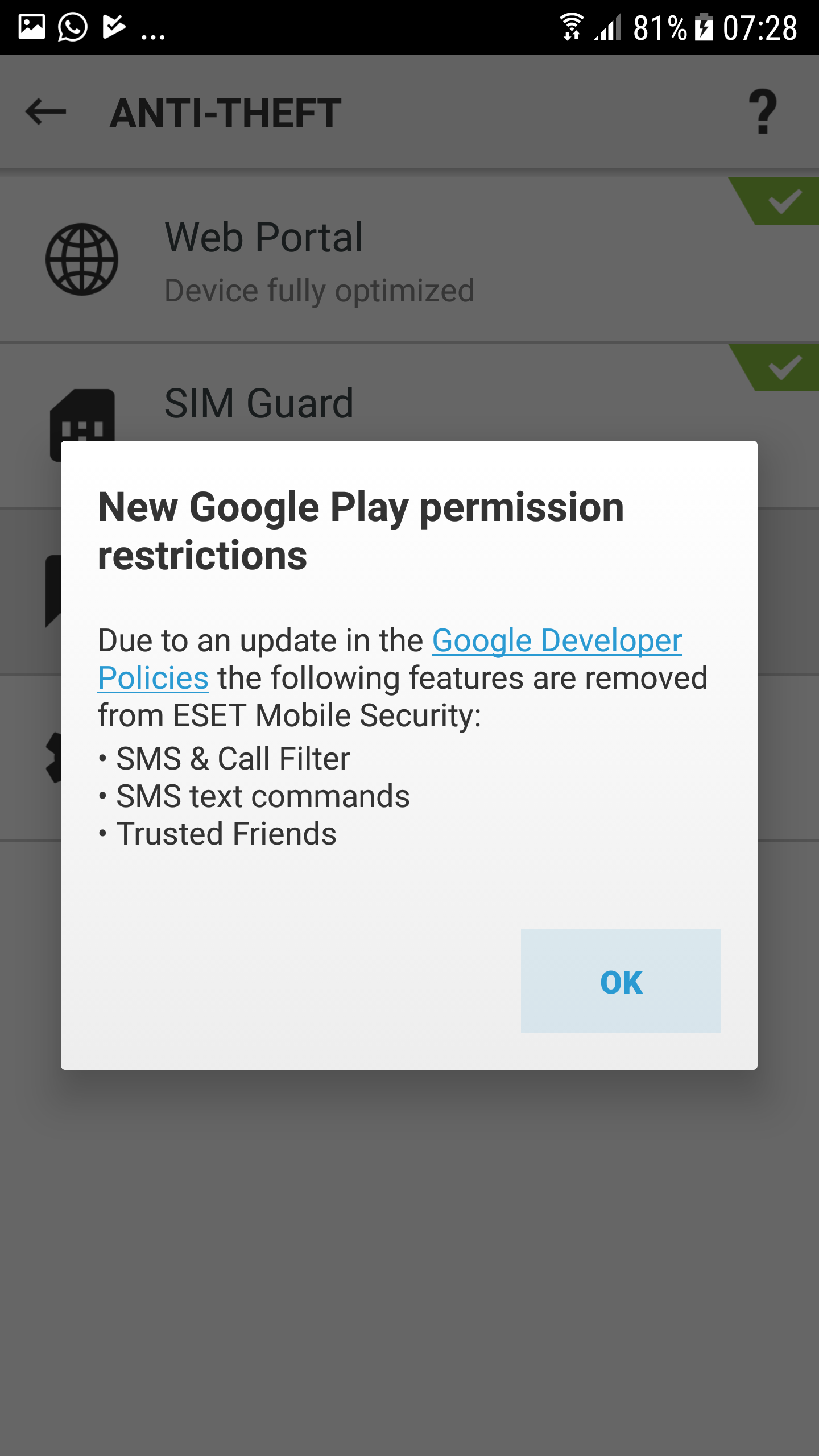 ESET Mobile Security not support SMS & call filter, anti