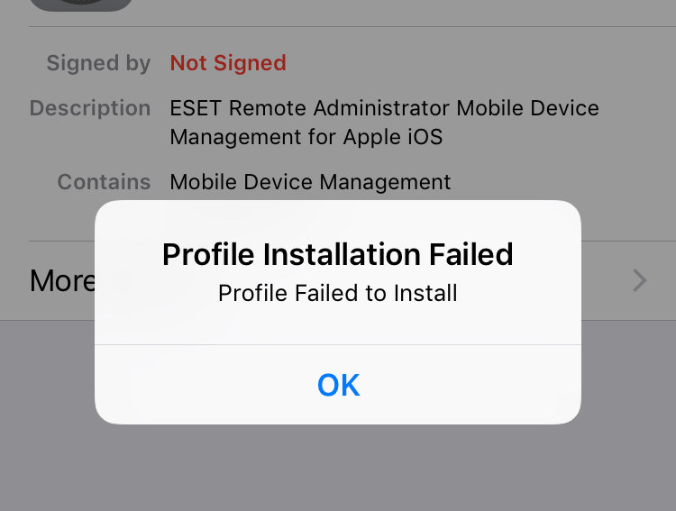 iOS Profile Installation Failed - Remote Management - ESET Security