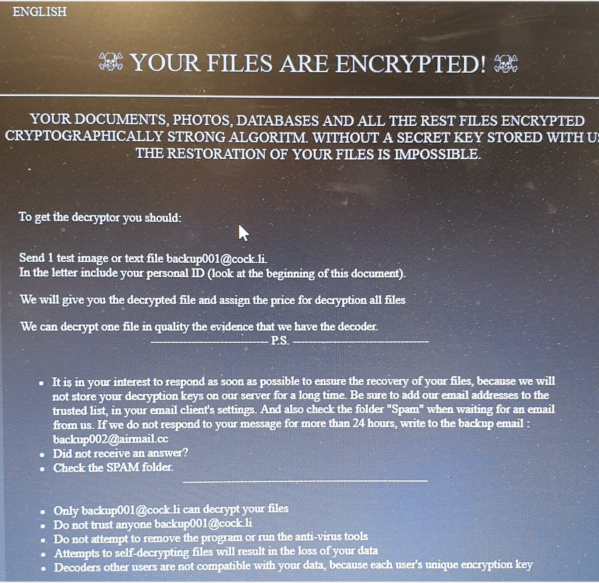 Hit by ransomware - can anyone help identify the strain from