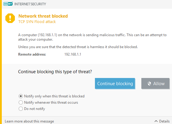 TCP SYN Flood Attack - Router IP - ESET Internet Security & ESET