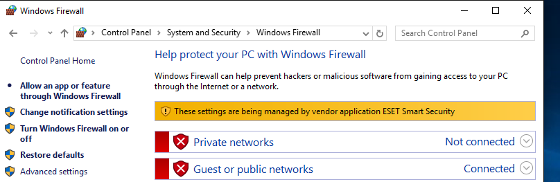 windows firewall private networks not connected