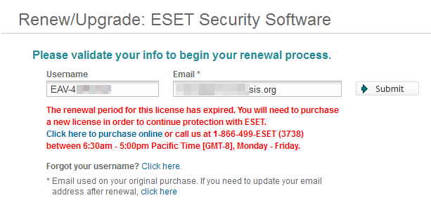Renewals Page Says Renewal Period Expired - ESET Internet