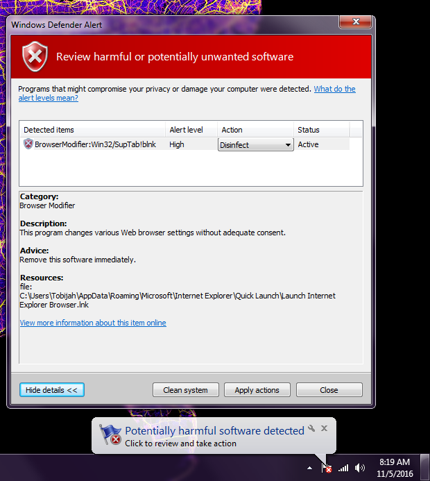 ESET - Win32/SupTab!blnk reported by Defender - Malware