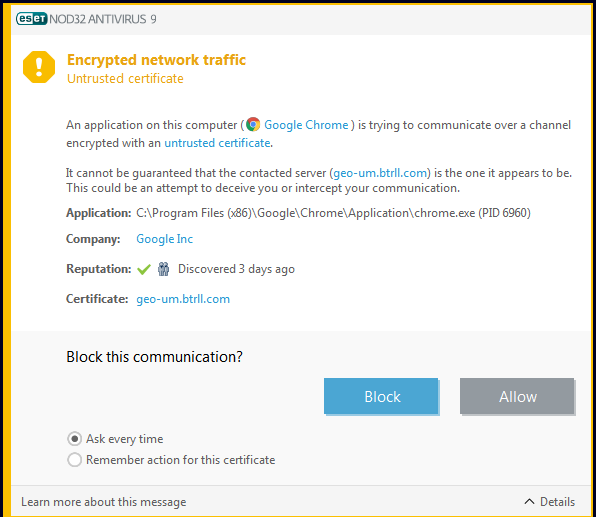 Untrusted Certificate Warning On Mostly Likely Safe Sites Eset