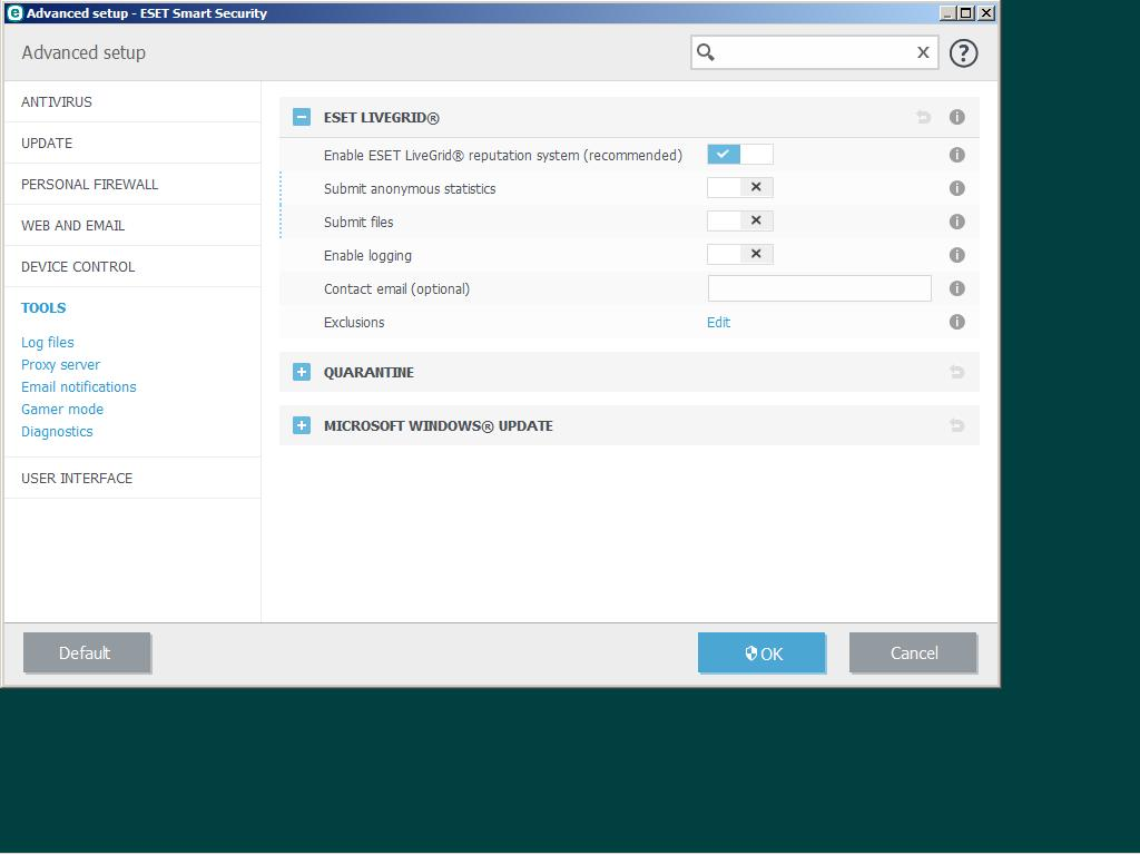 Disable ESET Livegrid disabled warning - ESET NOD32
