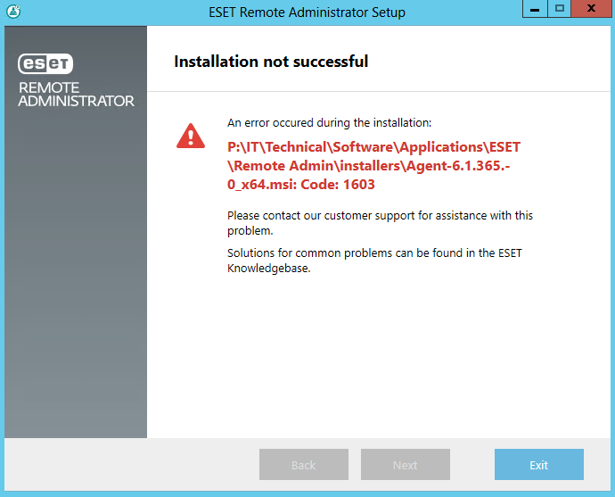 Error 1603 on Windows Server 2012 Standard - Remote Management