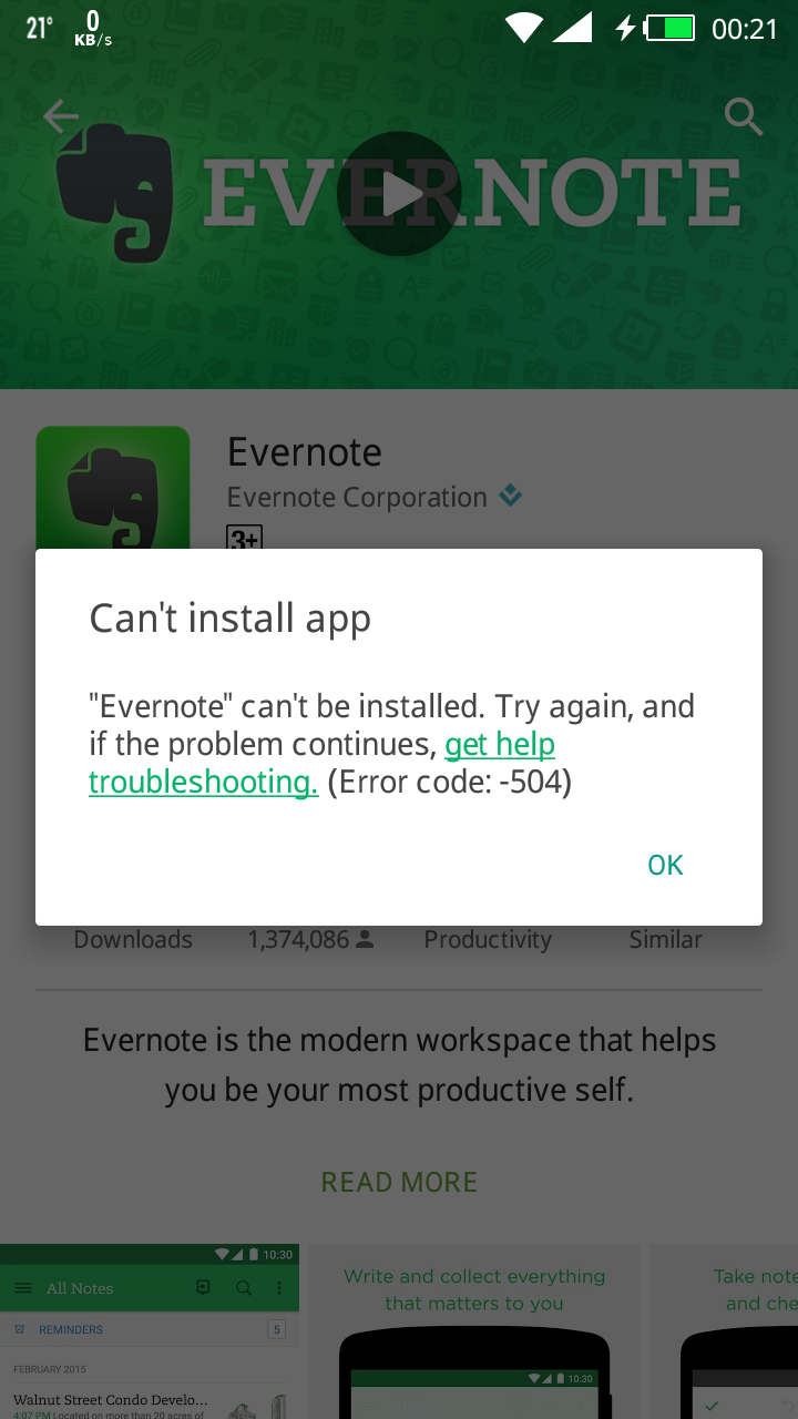 Evernote not installing after upgrade to Lollipop 5 1