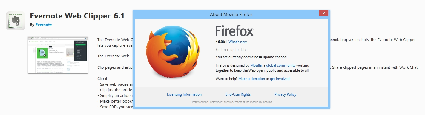 Firefox] 6 1 not compatible with Firefox 45 Developer