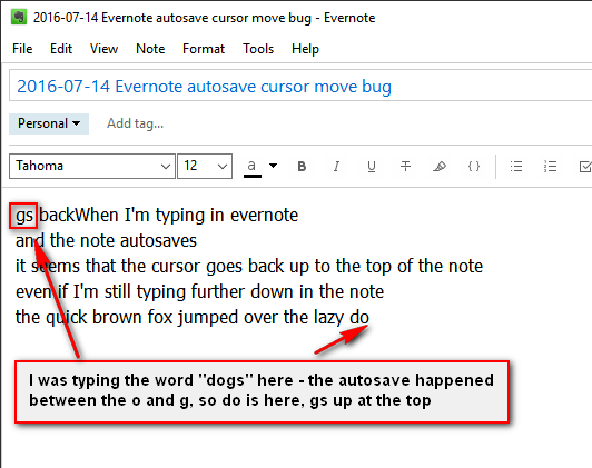 Typing cursor jumps to beginning of note while typing