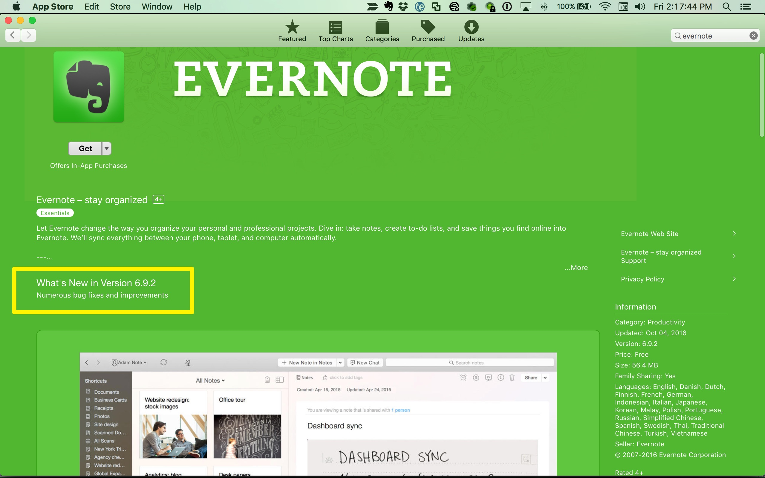 Update missing attachments fix in ver 691 evernote for mac while we dont have control over how quickly updates are pushed in the mac app store im showing version 692 is currently available reheart