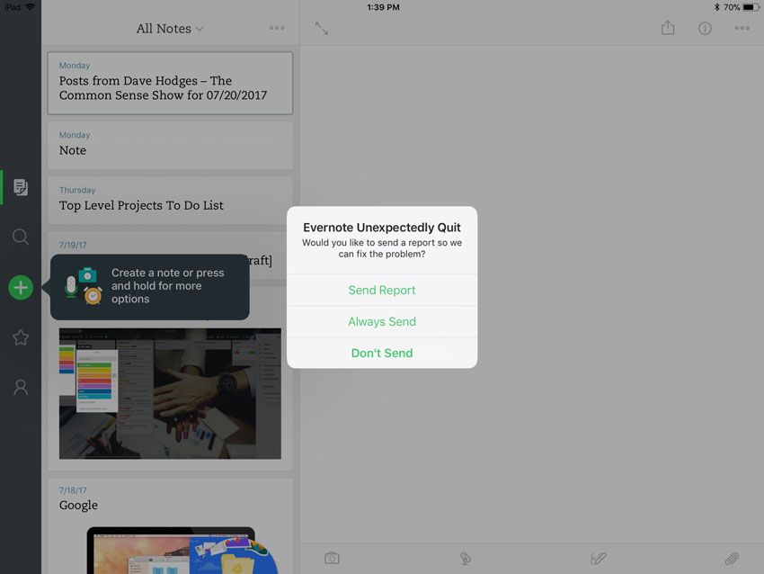 Evernote Crashes on iOS 11 - Evernote for iOS - Evernote User Forum