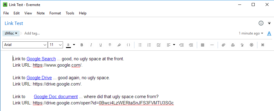 Space In Front Of Links To Google Docs Documents Evernote For