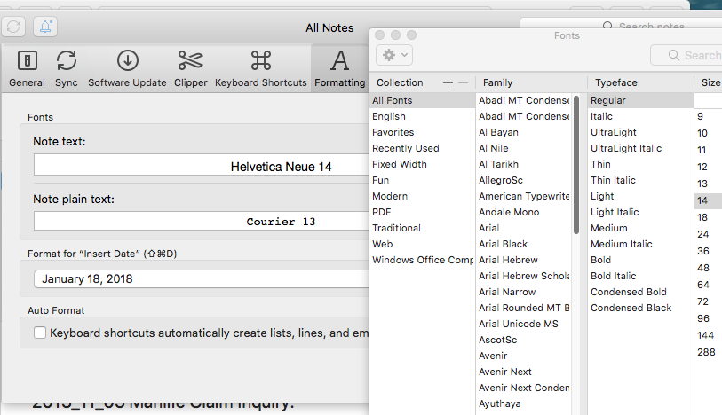 What the font? (Why does Evernote ignore installed fonts