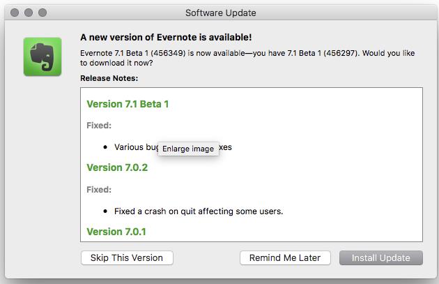 Evernote for Mac 7 1 Beta 1 - Mac - Evernote User Forum