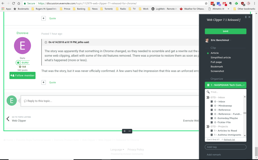 Chrome] Web Clipper 7 1 Released for Chrome - Web Clipper - Evernote
