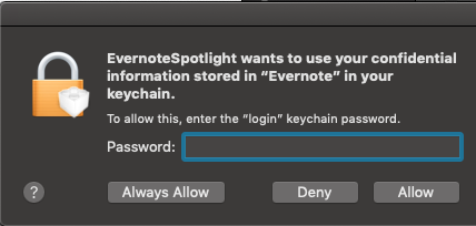 EvernoteSpotlight wants to use your confidential information