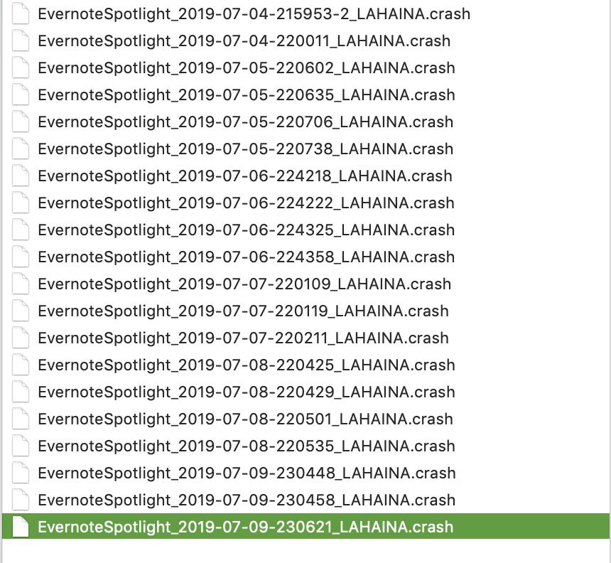 EvernoteSpotlight quit unexpectedly