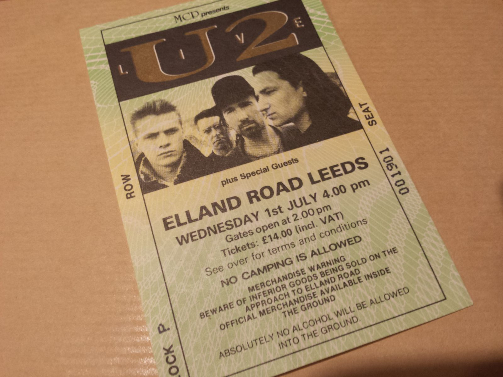 The Joshua Tree Tour 1987 - Elland Road Leeds Ticket Stub