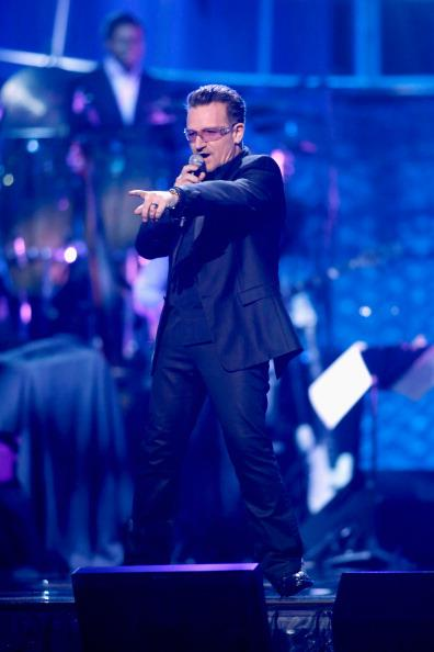 Bono singing at Power of Love gala event