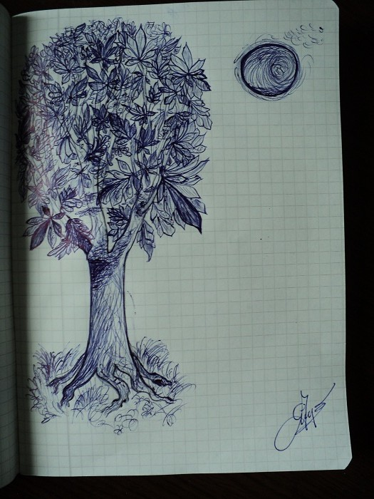 Moon And Chestnut Tree