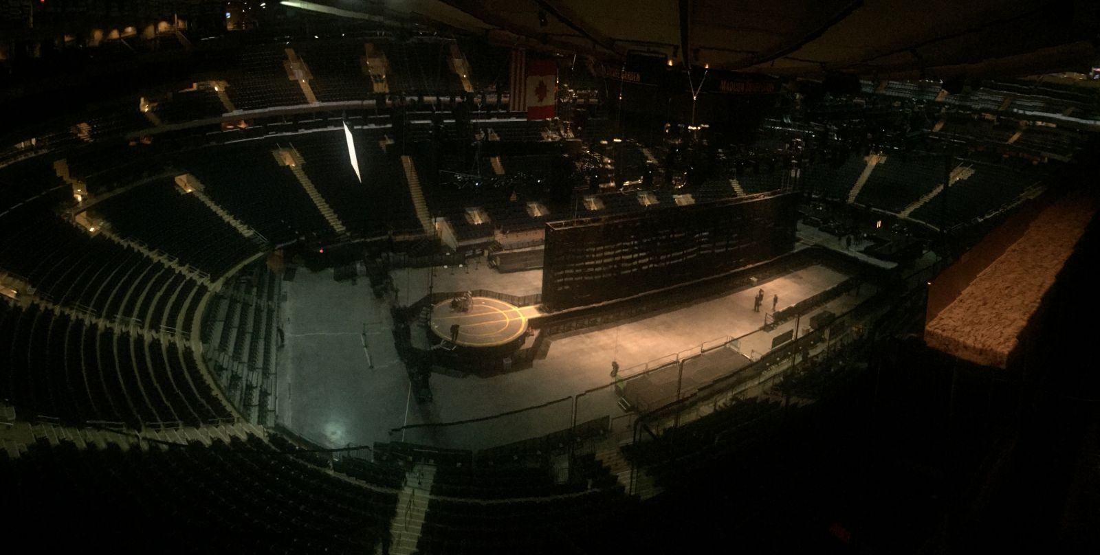 Cropped version: Stage view from the catwalks at MSG