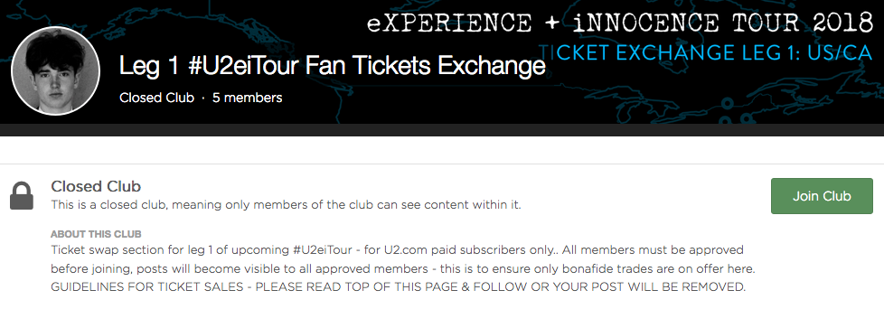 New 'Clubs' Feature for #U2eiTour Fan Ticket Swaps / Sales