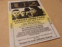 Joshua Tree Tour 1987 - Cardiff Arms Park Ticket Stub