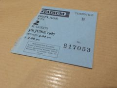Joshua Tree Tour 1987 - Ticket Stub 2nd Night Wembley Stadium