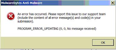 Malwarebytes update error program_error_updating dating a fender amp
