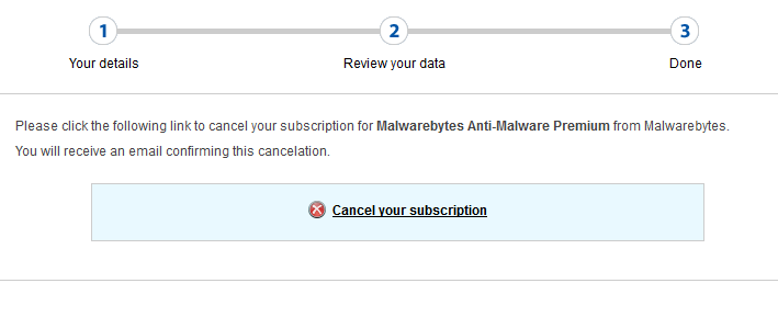 cancel auto renewal malwarebytes