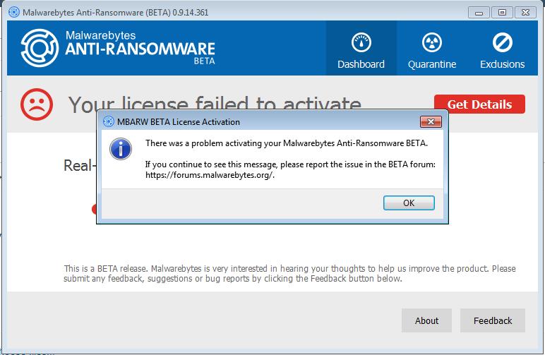 Anti-ransomware can't activate - Anti-Ransomware Beta - Malwarebytes