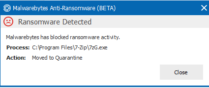 False Flag 7-zip program - Anti-Ransomware Beta - Malwarebytes Forums
