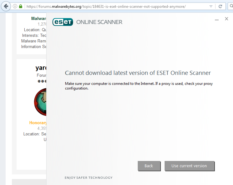 Is ESET Online Scanner not supported anymore? - General