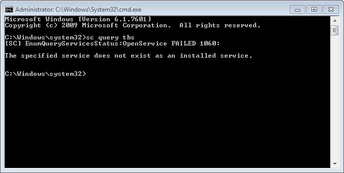 TBS [Missing Service] - General Windows PC Help - Malwarebytes Forums