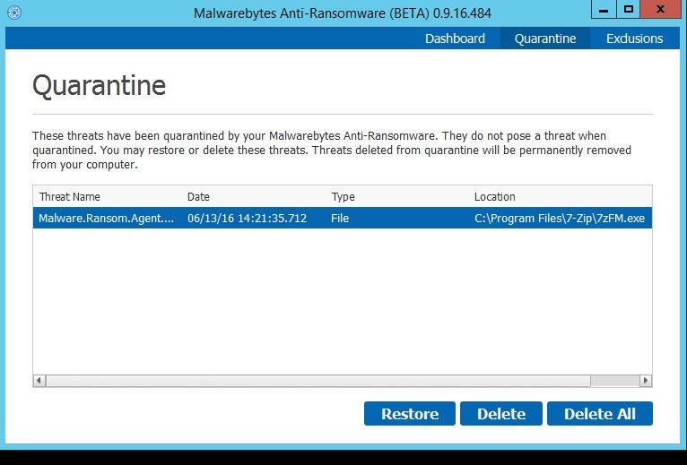 False Positive: 7zFM.exe - Anti-Ransomware Beta - Malwarebytes Forums