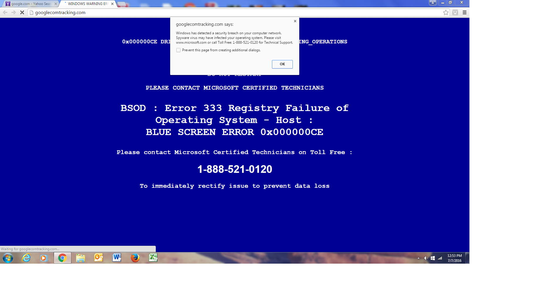 Fake Registry Failure Pop-Up - Resolved Malware Removal Logs