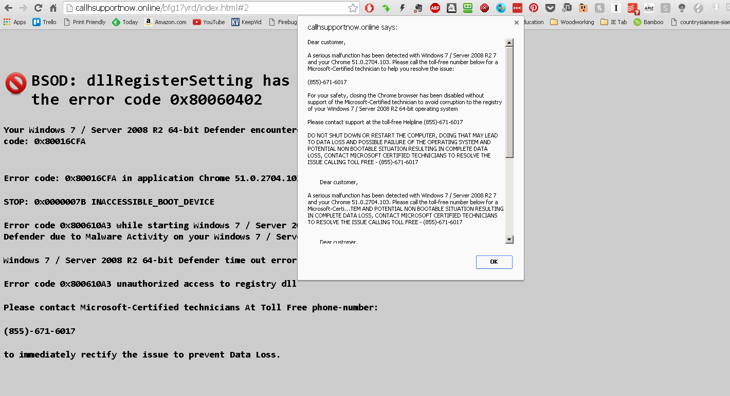 Tech support SCAM page on screen on browser - Resolved Malware