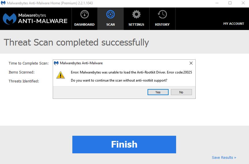 malwarebytes rootkit error