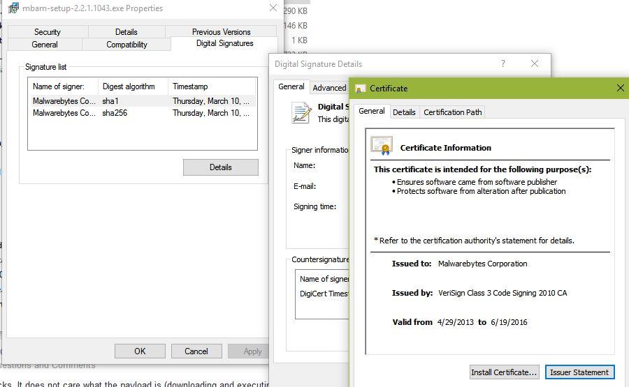 Expired Certificate For Install Of 2211043 Malwarebytes 3