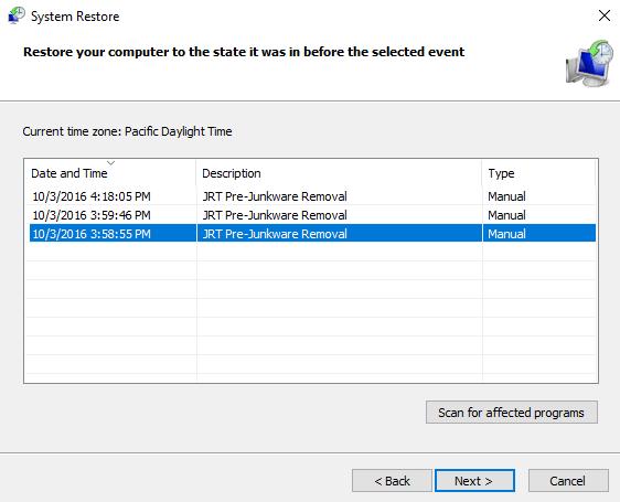 JRT not creating restore point - Malwarebytes Junkware