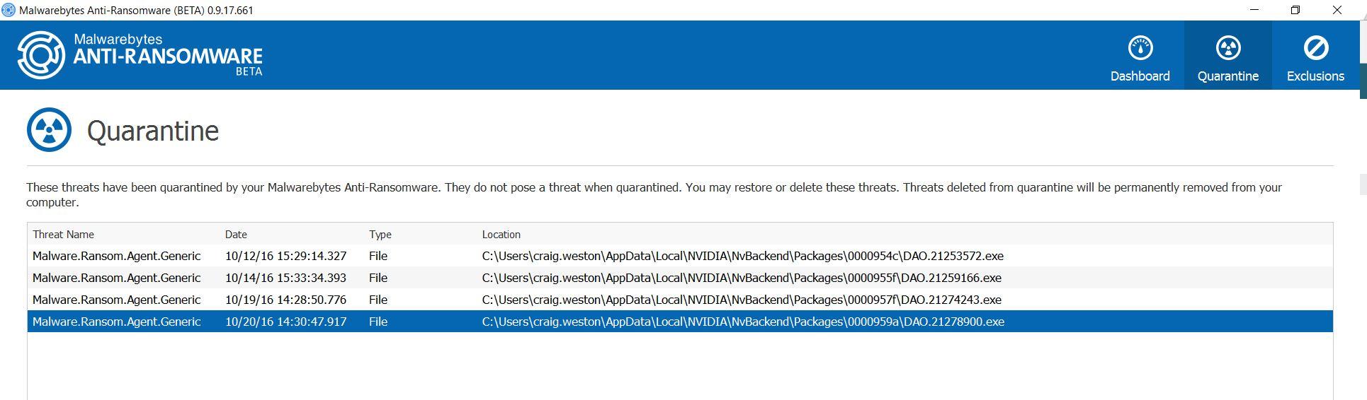 Nvidia Files false positivves - Anti-Ransomware Beta - Malwarebytes